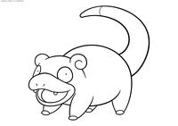 Покемон Слоупок (Slowpoke) - скачать и распечатать раскраску. Раскраска Покемон