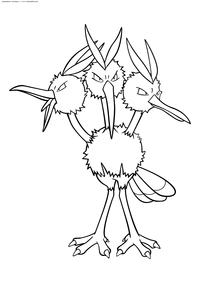 Покемон Додрио (Dodrio) - скачать и распечатать раскраску. Раскраска Покемон