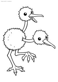 Покемон Додуо (Doduo) - скачать и распечатать раскраску. Раскраска Покемон