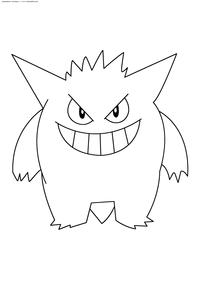 Покемон Генгар (Gengar) - скачать и распечатать раскраску. Раскраска Покемон