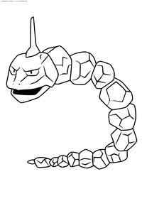 Покемон Оникс (Onix) - скачать и распечатать раскраску. Раскраска Покемон