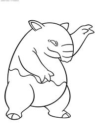 Покемон Дроузи (Drowzee) - скачать и распечатать раскраску. Раскраска Покемон