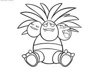 Покемон Экзеггутор (Exeggutor) - скачать и распечатать раскраску. Раскраска Покемон
