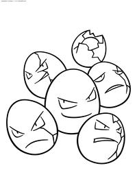 Покемон Экзеггут (Exeggcute) - скачать и распечатать раскраску. Раскраска Покемон