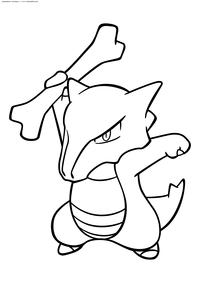 Покемон Маровак (Marowak) - скачать и распечатать раскраску. Раскраска Покемон