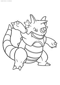 Покемон Райдон (Rhydon) - скачать и распечатать раскраску. Раскраска Покемон