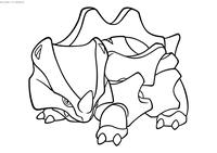 Покемон Райхорн (Rhyhorn) - скачать и распечатать раскраску. Раскраска Покемон