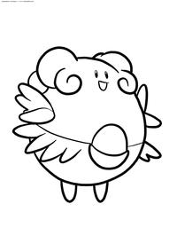 Покемон Блисси (Blissey) - скачать и распечатать раскраску. Раскраска Покемон