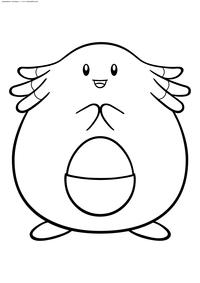 Покемон Ченси (Chansey) - скачать и распечатать раскраску. Раскраска Покемон