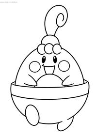 Покемон Хэппини (Happiny) - скачать и распечатать раскраску. Раскраска Покемон