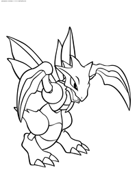 Покемон Скайтер (Scyther) - скачать и распечатать раскраску. Раскраска Покемон