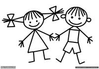 Дети - скачать и распечатать раскраску. Раскраска Рисунок детей для раскрашивания детьми, простые раскраски для детей