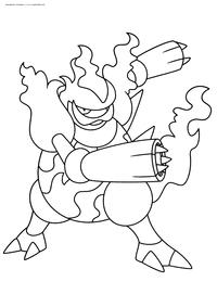 Покемон Магмортар (Magmortar) - скачать и распечатать раскраску. Раскраска Покемон