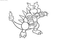 Покемон Магмар (Magmar) - скачать и распечатать раскраску. Раскраска Покемон