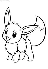 Покемон Иви (Eevee) - скачать и распечатать раскраску. Раскраска Покемон