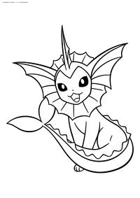 Покемон Вапореон (Vaporeon) - скачать и распечатать раскраску. Раскраска Покемон