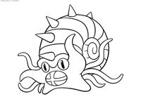 Покемон Омастар (Omastar) - скачать и распечатать раскраску. Раскраска Покемон