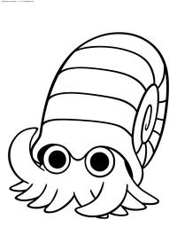 Покемон Оманайт (Omanyte) - скачать и распечатать раскраску. Раскраска Покемон