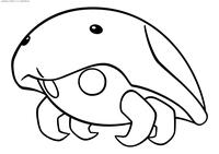 Покемон Кабуто (Kabuto - скачать и распечатать раскраску. Раскраска Покемон