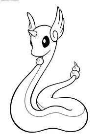 Покемон Драгонайр (Dragonair) - скачать и распечатать раскраску. Раскраска Покемон