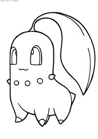 Покемон Чикорита (Chikorita) - скачать и распечатать раскраску. Раскраска Покемон