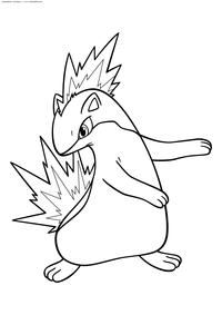 Покемон Квилава (Quilava) - скачать и распечатать раскраску. Раскраска Покемон
