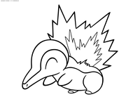 Покемон Синдаквил (Cyndaquil) - скачать и распечатать раскраску. Раскраска Покемон