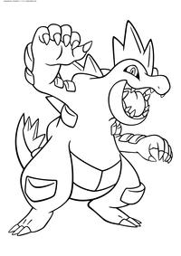 Покемон Фералигатр (Feraligatr) - скачать и распечатать раскраску. Раскраска Покемон