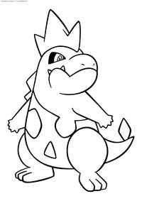 Покемон Кроконав (Croconaw) - скачать и распечатать раскраску. Раскраска Покемон