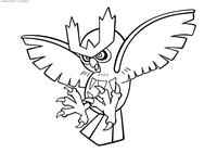 Покемон Ноктаул (Noctowl) - скачать и распечатать раскраску. Раскраска Покемон