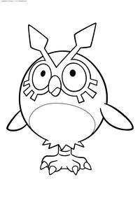 Покемон Хутхут (Hoothoot) - скачать и распечатать раскраску. Раскраска Покемон