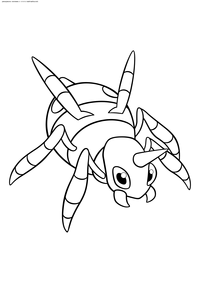Покемон Ариадос (Ariados) - скачать и распечатать раскраску. Раскраска Покемон