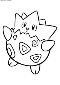 Покемон Тогепи (Togepi) - скачать и распечатать раскраску. Раскраска Покемон