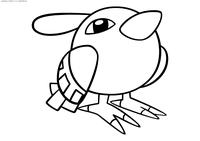 Покемон Нату (Natu) - скачать и распечатать раскраску. Раскраска Покемон