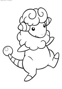Покемон Флаффи (Flaaffy) - скачать и распечатать раскраску. Раскраска Покемон