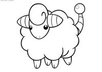 Покемон Марип (Mareep) - скачать и распечатать раскраску. Раскраска Покемон