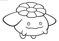 Покемон Скиплум (Skiploom) - скачать и распечатать раскраску. Раскраска Покемон