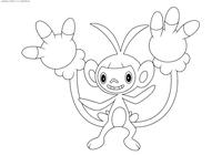 Покемон Амбипом (Ambipom) - скачать и распечатать раскраску. Раскраска Покемон