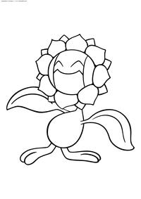 Покемон Санфлора (Sunflora) - скачать и распечатать раскраску. Раскраска Покемон
