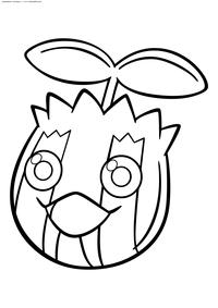 Покемон Санкерн (Sunkern) - скачать и распечатать раскраску. Раскраска Покемон