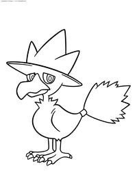 Покемон Маркроу (Murkrow) - скачать и распечатать раскраску. Раскраска Покемон