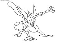 Покемон Грениндзя (Greninja) - скачать и распечатать раскраску. Раскраска Покемон
