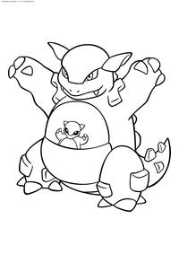 Покемон Кангасхан (Kangaskhan) - скачать и распечатать раскраску. Раскраска Покемон
