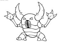 Покемон Пинсир (Pinsir) - скачать и распечатать раскраску. Раскраска Покемон