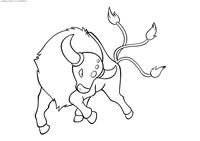 Покемон Таурос (Tauros) - скачать и распечатать раскраску. Раскраска Покемон