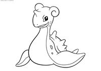 Покемон Лапрас (Lapras) - скачать и распечатать раскраску. Раскраска Покемон