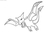Покемон Аэродактиль (Aerodactyl) - скачать и распечатать раскраску. Раскраска Покемон