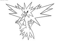 Легендарный покемон Запдос (Zapdos) - скачать и распечатать раскраску. Раскраска Покемон