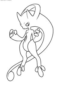 Покемон Мега Мьюту X (Mega Mewtwo X)  - скачать и распечатать раскраску. Раскраска Покемон