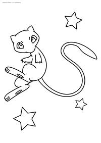 Легендарный покемон Мью (Mew) - скачать и распечатать раскраску. Раскраска Покемон